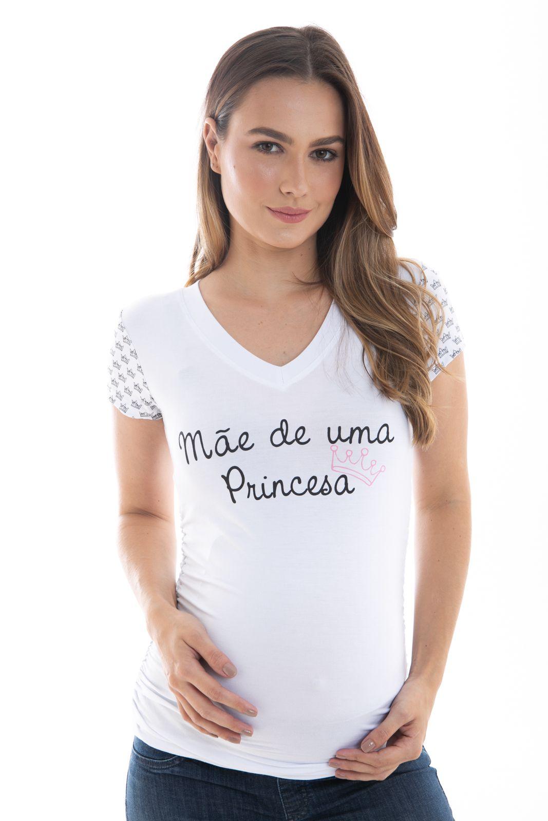 BLUSA GESTANTE TEMÁTICA MÃE DE PRINCESA BRANCO - MODA GESTANTE