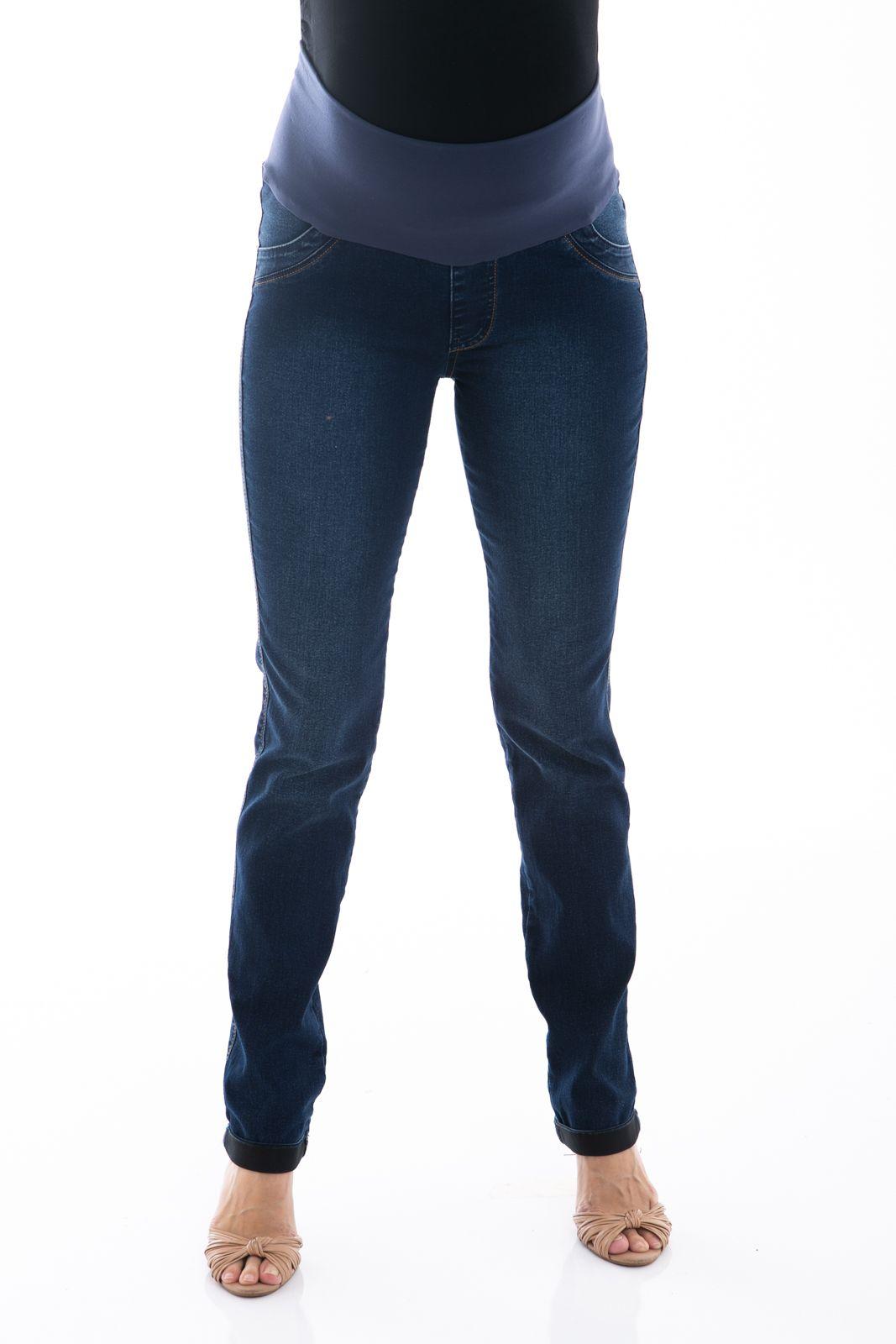 91471001a Calça Jeans Gestante Skinny Laura, com barra virada e cós em suplex que  proporciona conforto e sustentação para a barriga da futura mamãe