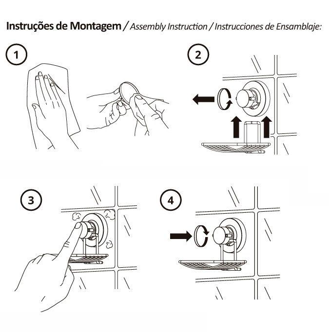 Suporte para Shampoo/ Sabonete com Ventosas