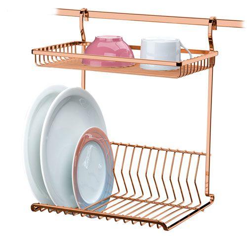 Escorredor de Louças de Parede - Rosé Gold