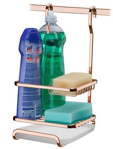 Suporte para Sabão/Detergente/Esponja - Rosé Gold