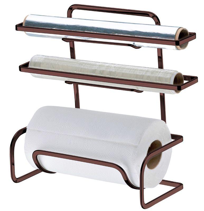 Suporte para Rolos Papel Toalha/Alumínio/PVC - Bronze