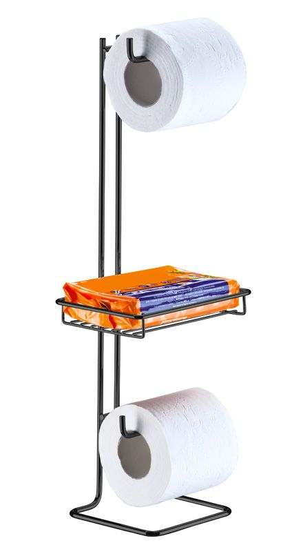 Suporte para Papel Higiênico de Chão Duplo com Porta Objeto - Ônix