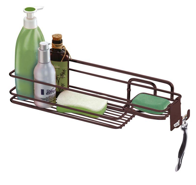 Suporte para Shampoo/Sabonete de Parede com Gancho Móvel - Bronze
