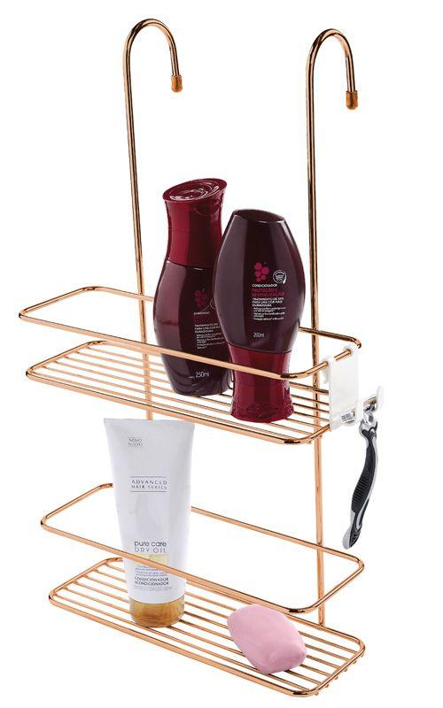 Suporte para Shampoo de Box com Gancho Móvel - Rosé Gold