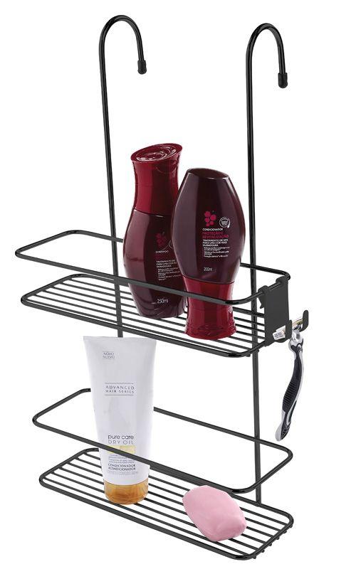 Suporte para Shampoo de Box com Gancho Móvel - Ônix