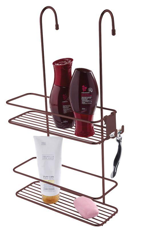 Suporte para Shampoo de Box com Gancho Móvel - Bronze