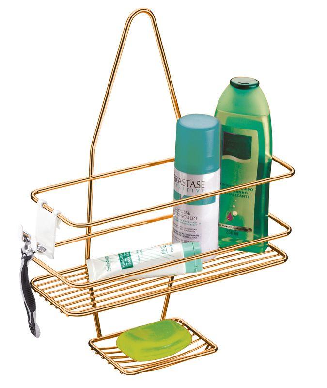 Suporte para Shampoo/Sabonete de Registro com Gancho Móvel - Rosé Gold