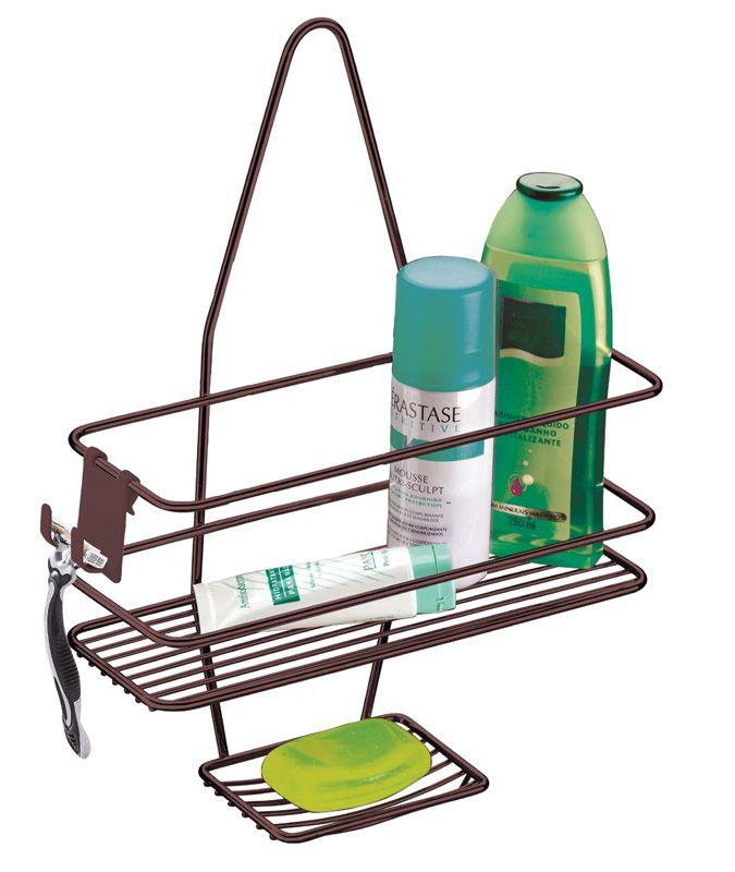 Suporte para Shampoo/Sabonete de Registro com Gancho Móvel - Bronze