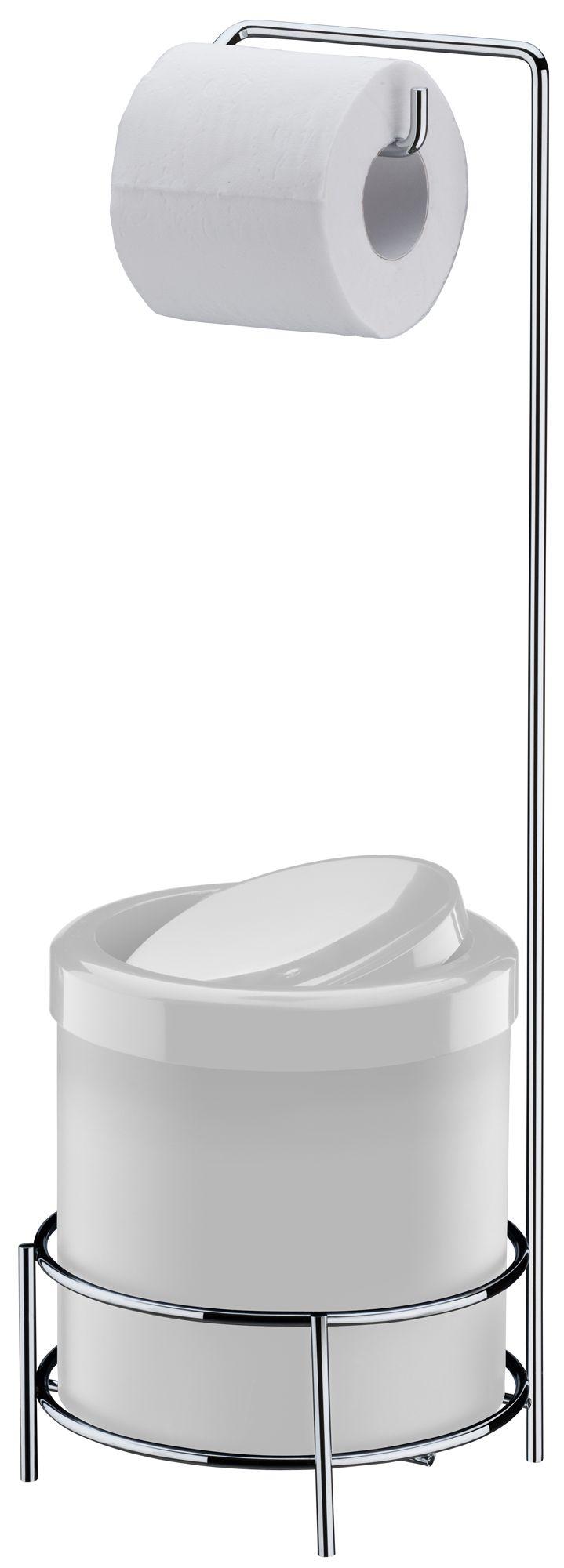 Suporte para Papel Higiênico com Lixeira Branca 5 Litros