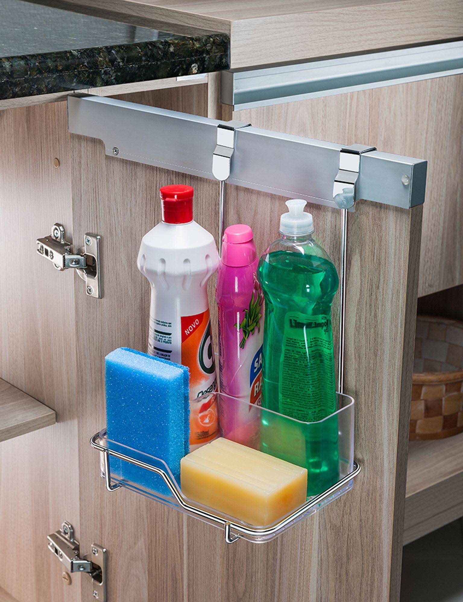 Suporte para Sabão/Detergente e Esponja Para Porta Armário