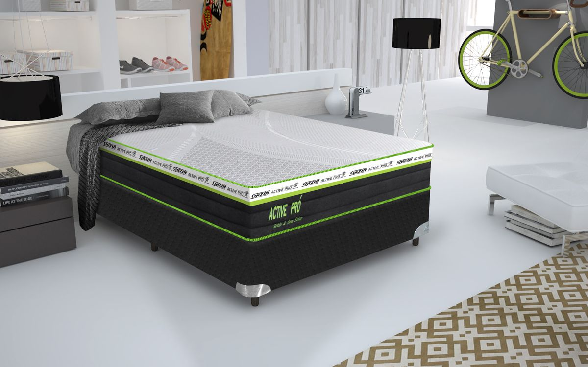 Conjunto cama box Active Pró Queen 158cm com base 618 Gazin