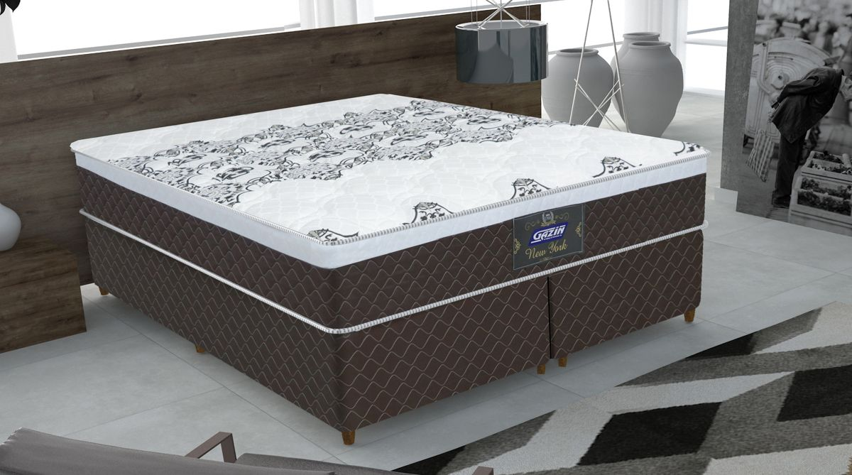 Conjunto cama box New York Queen 158cm com base 615 Gazin