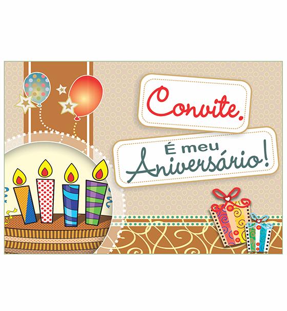 CO-02: Convite de Aniversário/10 un. + envelopes