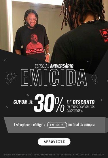 30% OFF nos produtos do Emicida