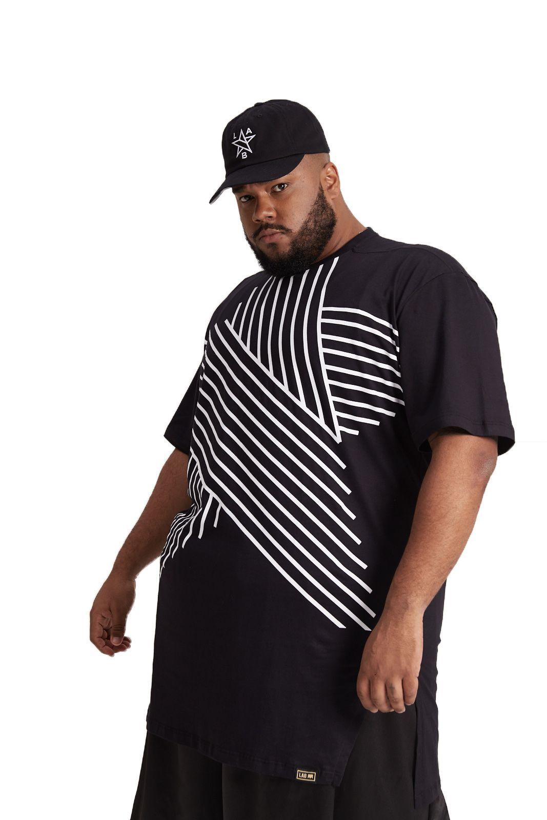 Camiseta Oversized Estrela Linhas Preta Plus Size