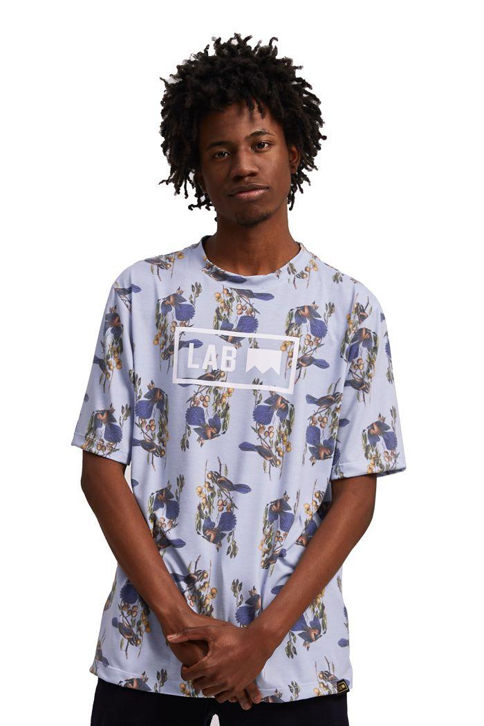 Camiseta Básica Passarinhos Fullprint Azul Céu