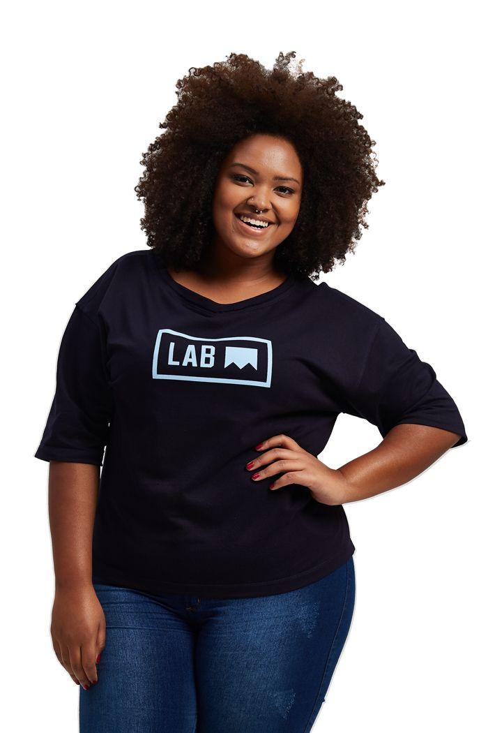 Blusa quadrada cava deslocada Lab Azul Marinho Plus Size