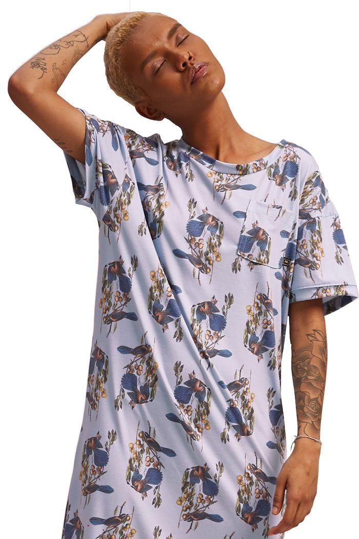 Vestido T-shirt com bolso Passarinhos Azul Céu