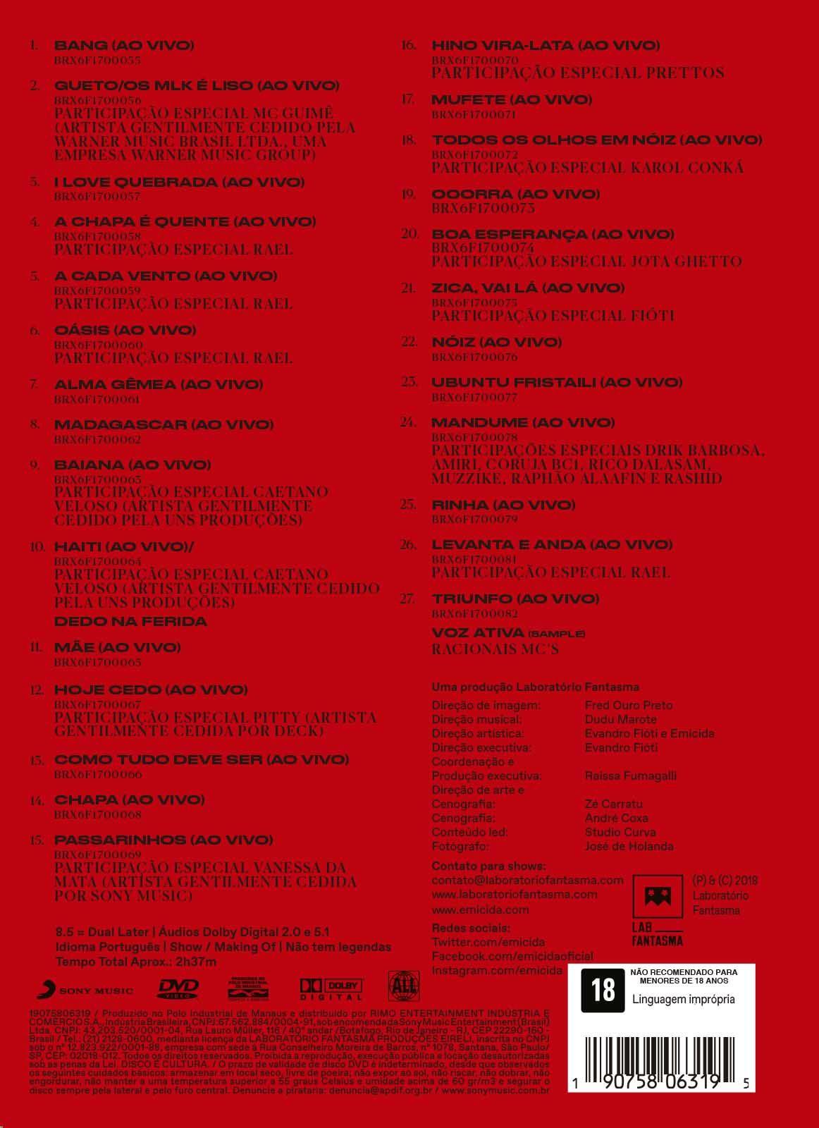 DVD Emicida - 10 anos de Triunfo - Ao vivo