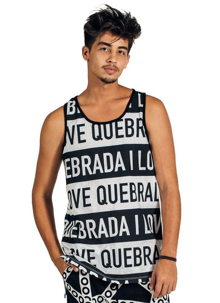 REGATA OVERSIZED I LOVE QUEBRADA PRETA E BRANCO
