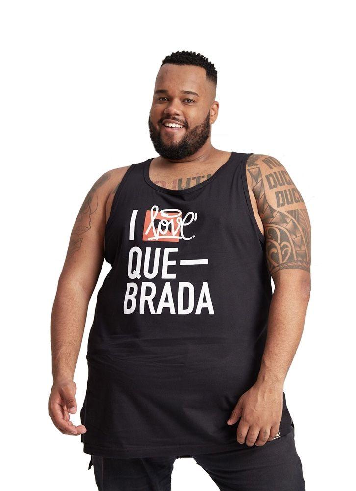 REGATA OVERSIZED I LOVE QUEBRADA PRETA PLUS SIZE