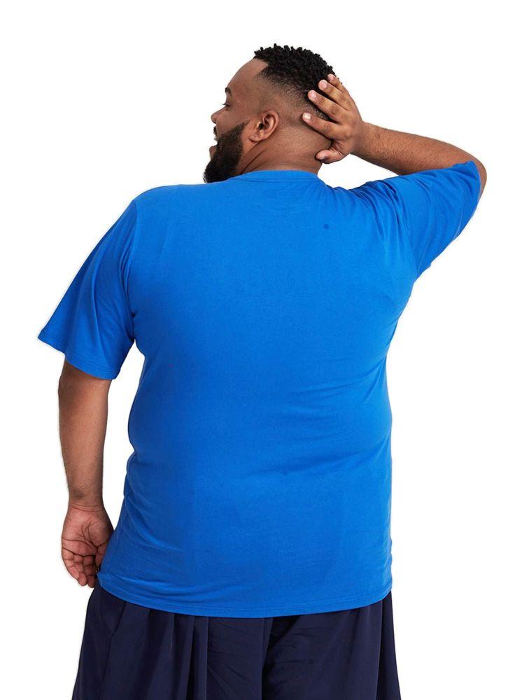 Camiseta Básica Ubuntu Tag Plus Size Azul Turco