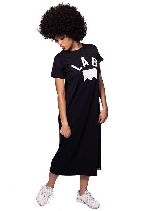 Vestido Midi de ribana com logo emborrachado Lab Preto