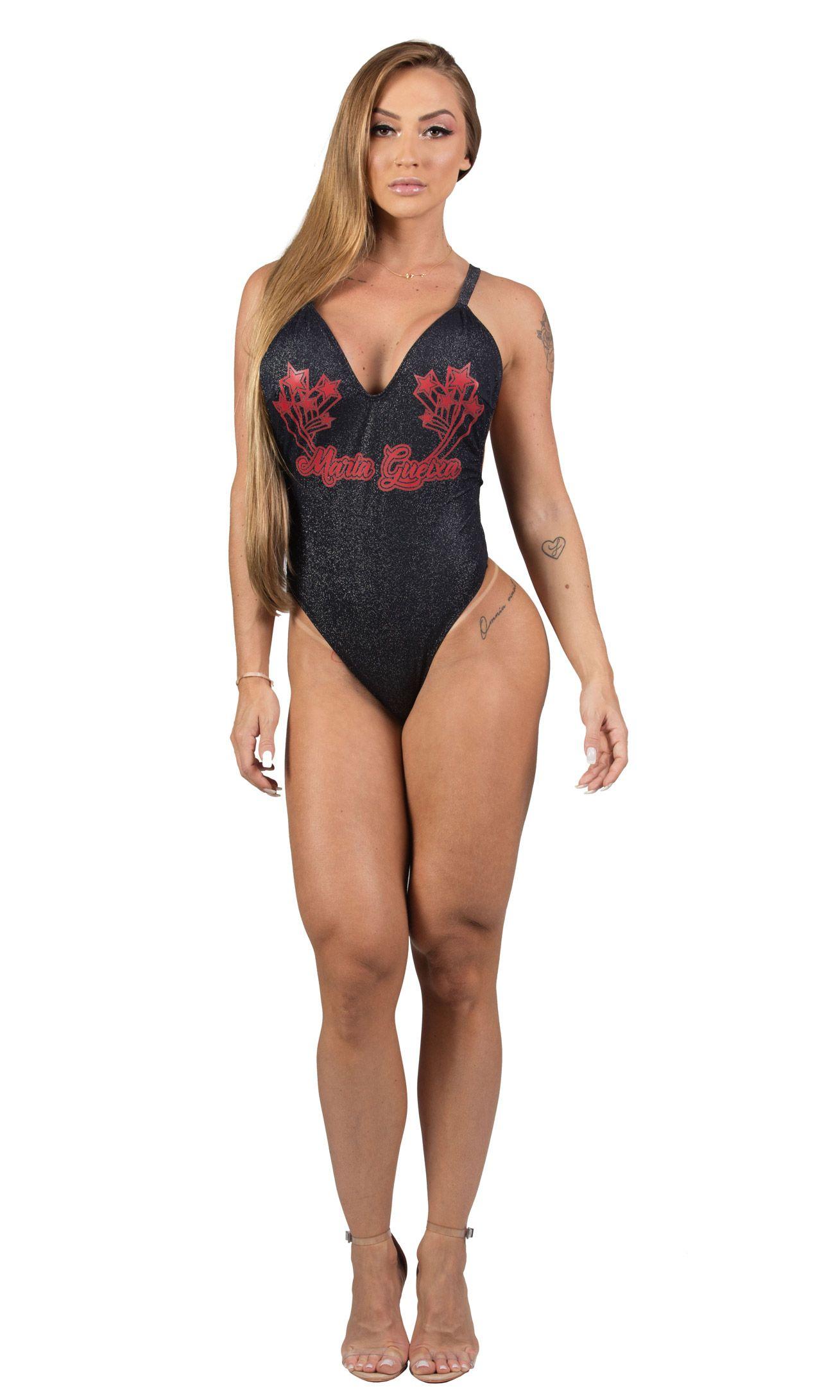 Maria Gueixa Lurex One-Piece Swimsuit Black