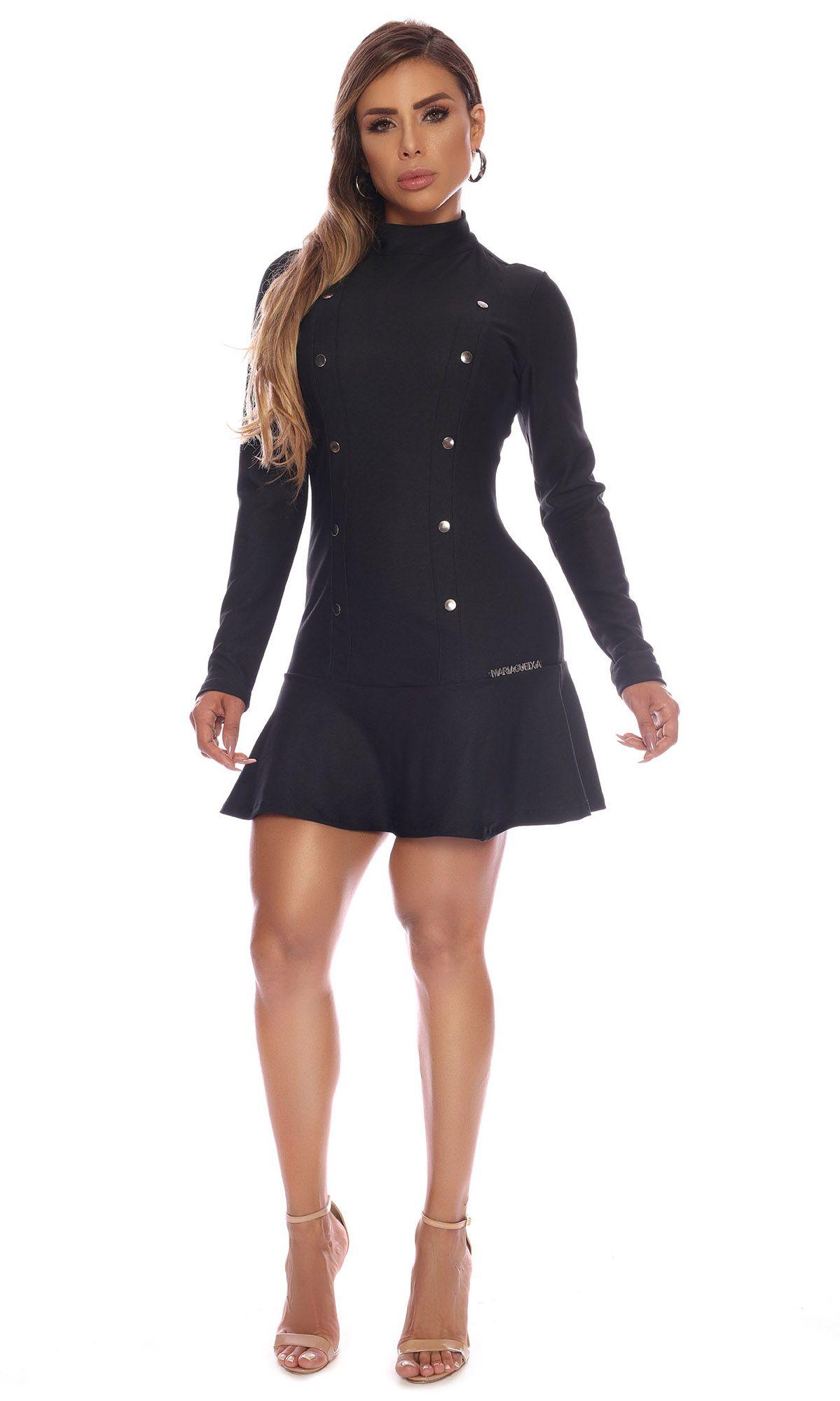 MARIA GUEIXA BUTTON HIGH COLLAR DRESS BLACK