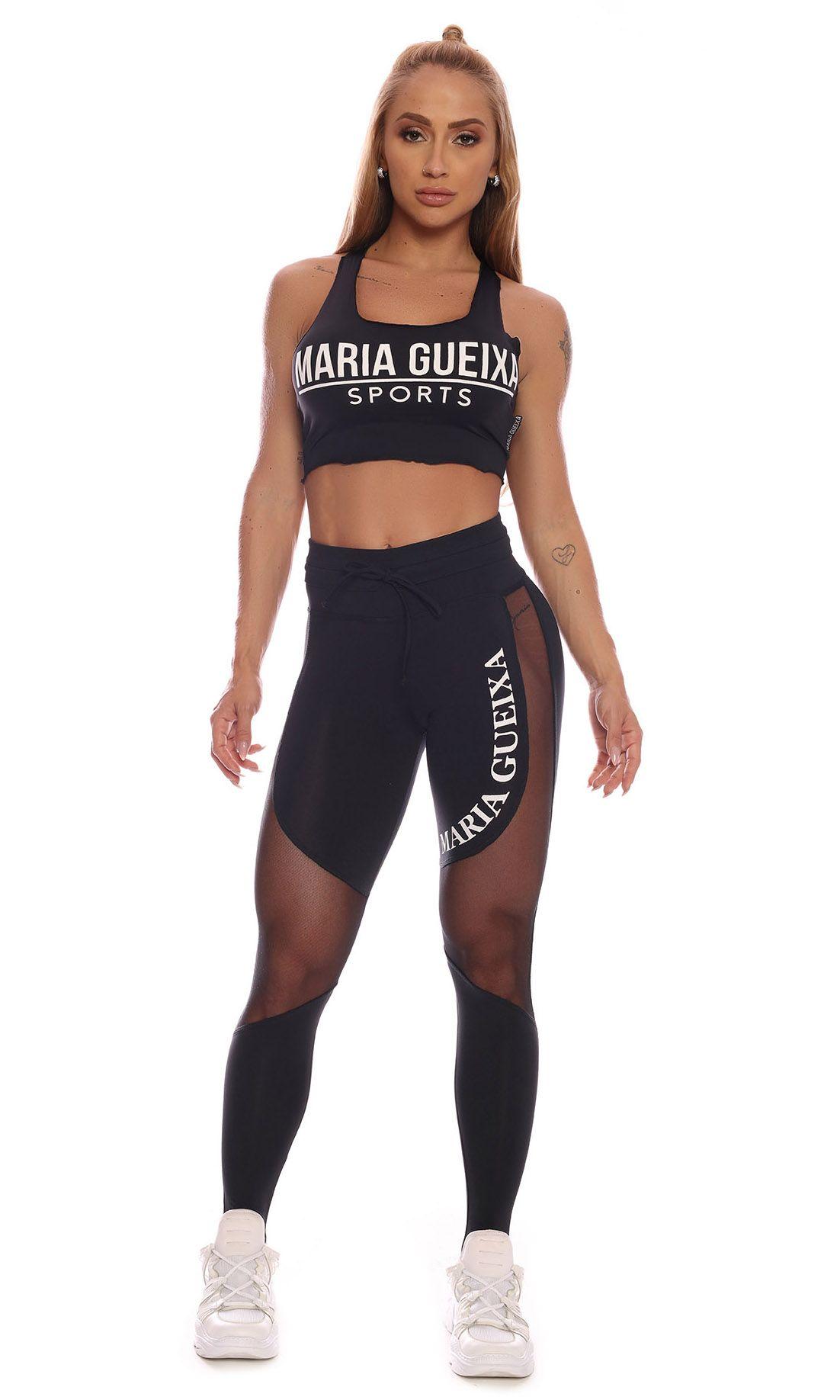 MARIA GUEIXA CUTOUT TULE SCULPT LEGGING BLACK