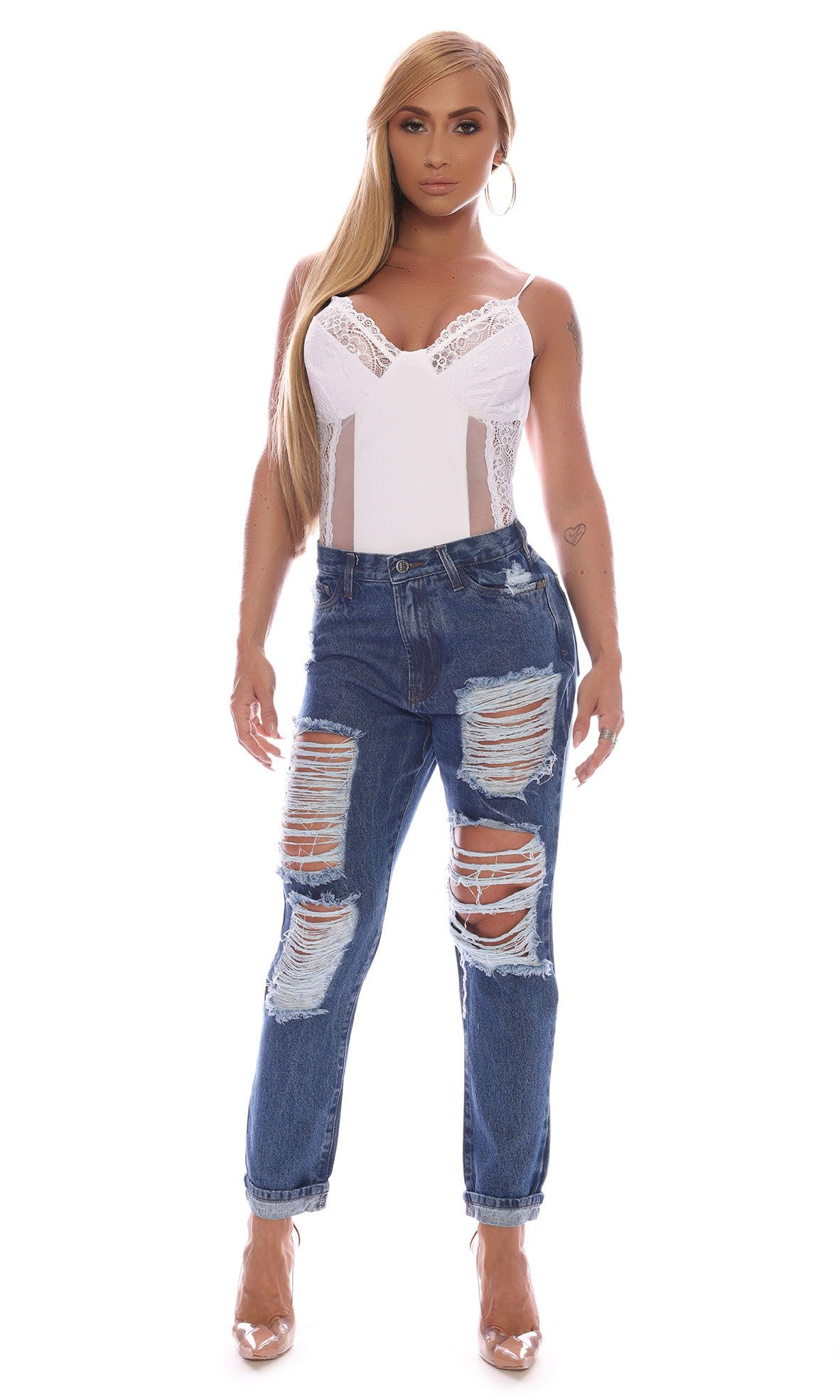 Jeans Pants Destroyed Blue Maria Gueixa Jeans