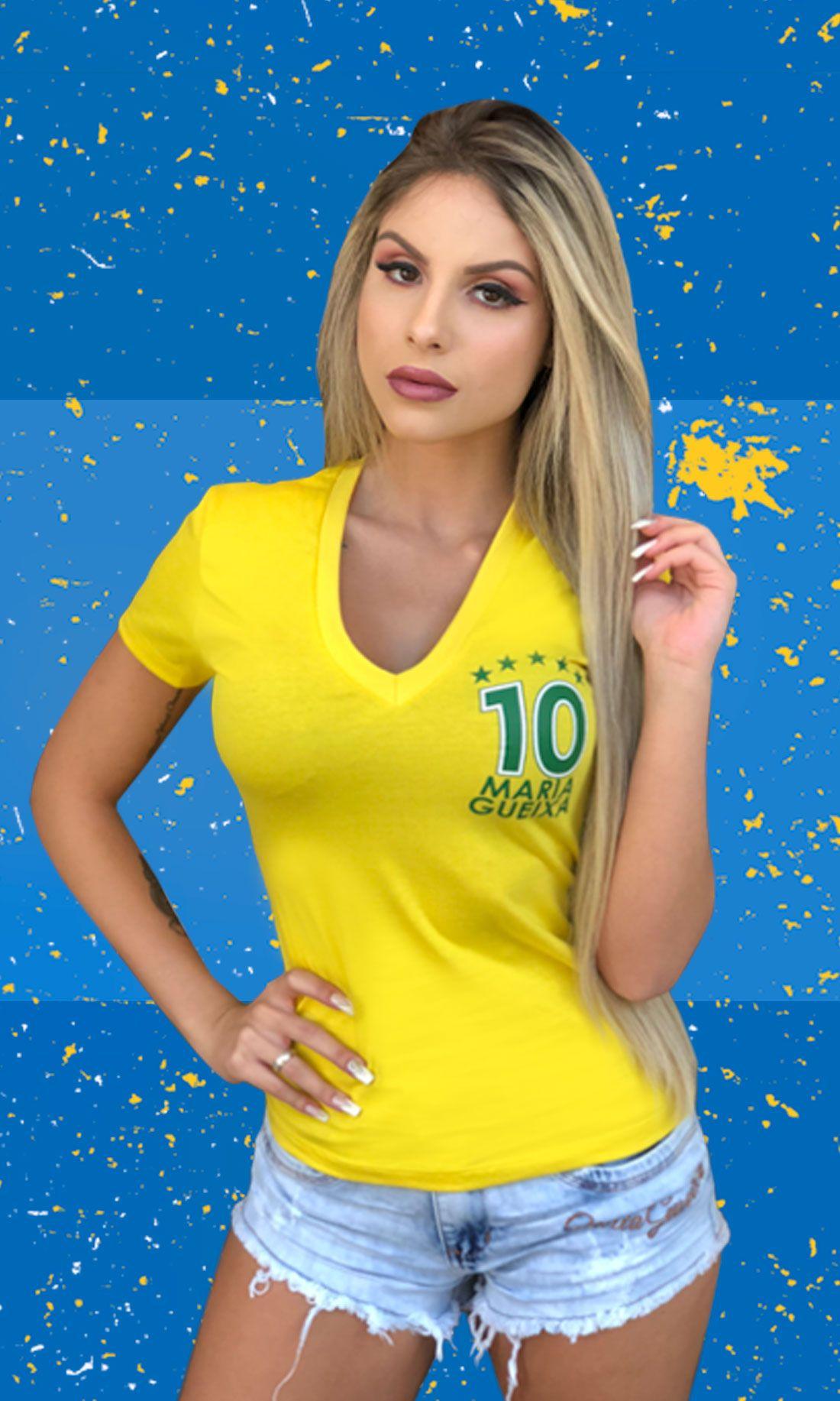 BLUSA T-SHIRT BRASIL 10 MARIA GUEIXA AMARELO