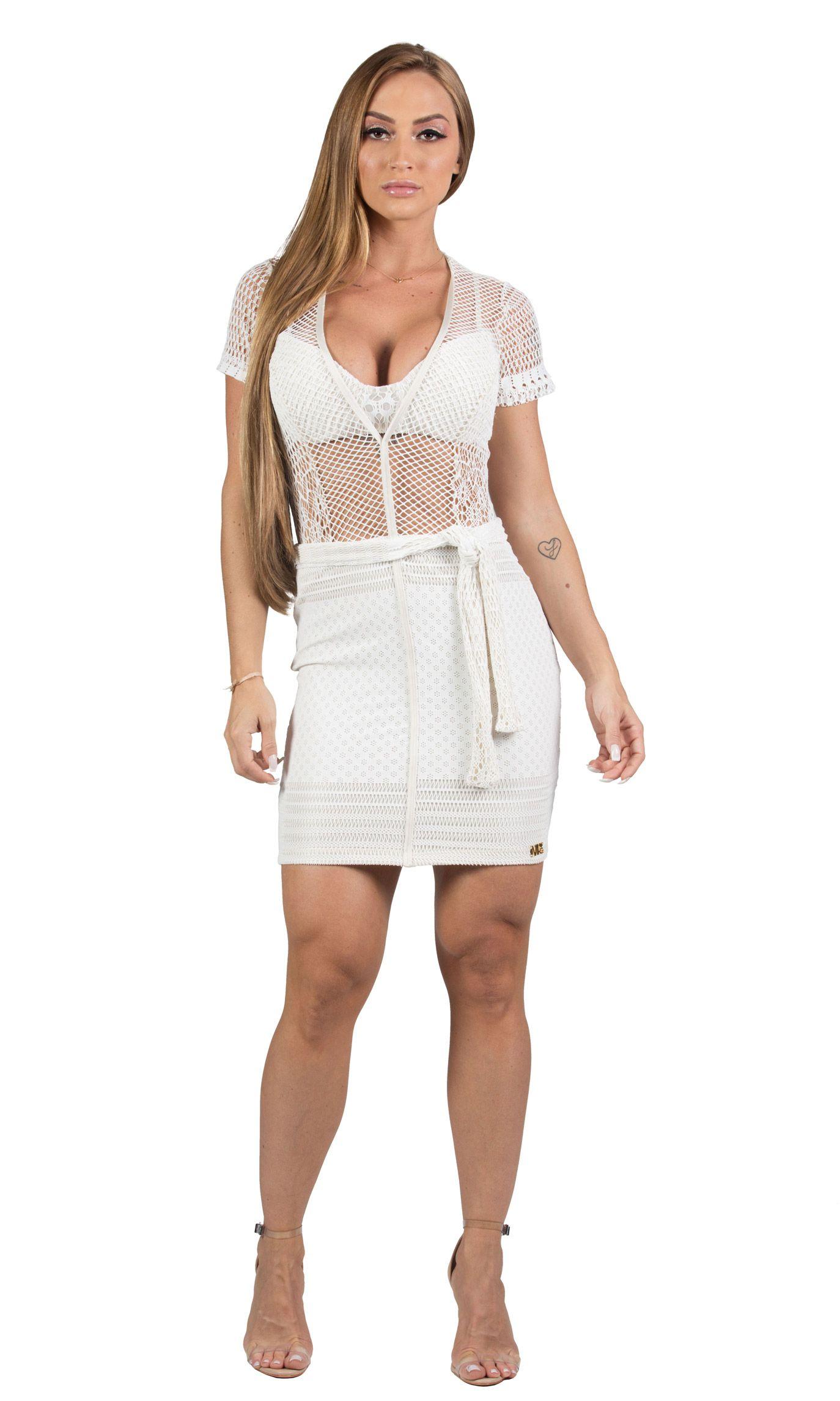Vestido Curto + Top Bojo Maria Gueixa Off White