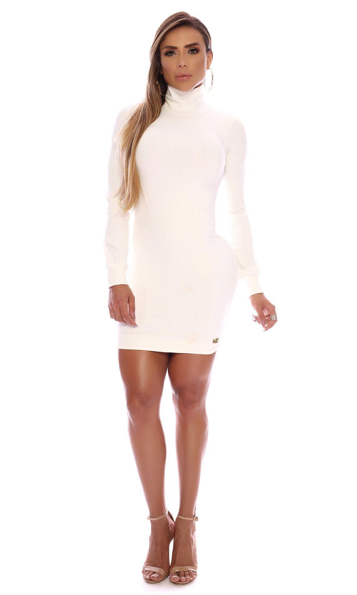 Vestido Canelado Gola Alta Maria Gueixa Off White