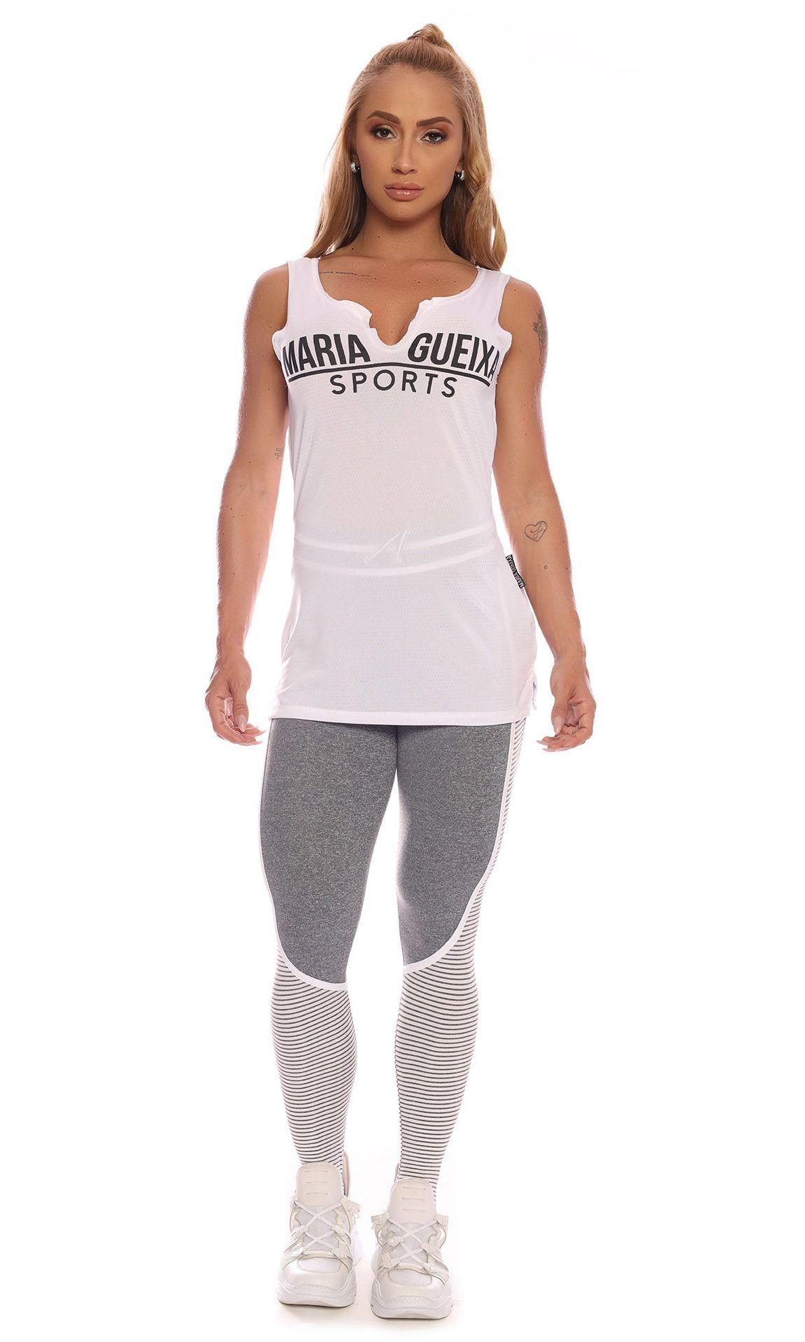 Blusa Long Shirt Sports Dry Maria Gueixa Branco