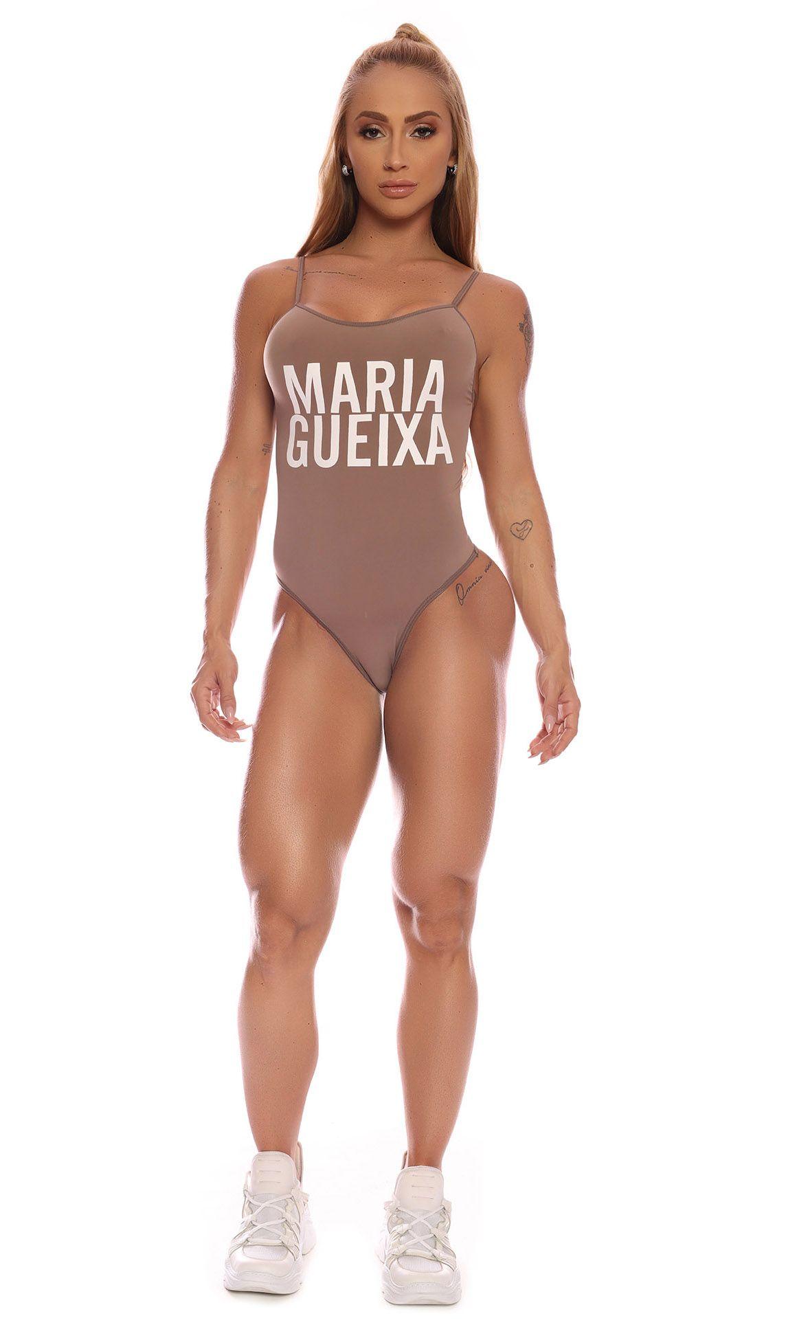 Maiô Decote Logo Proteção Uv Maria Gueixa Capuccino