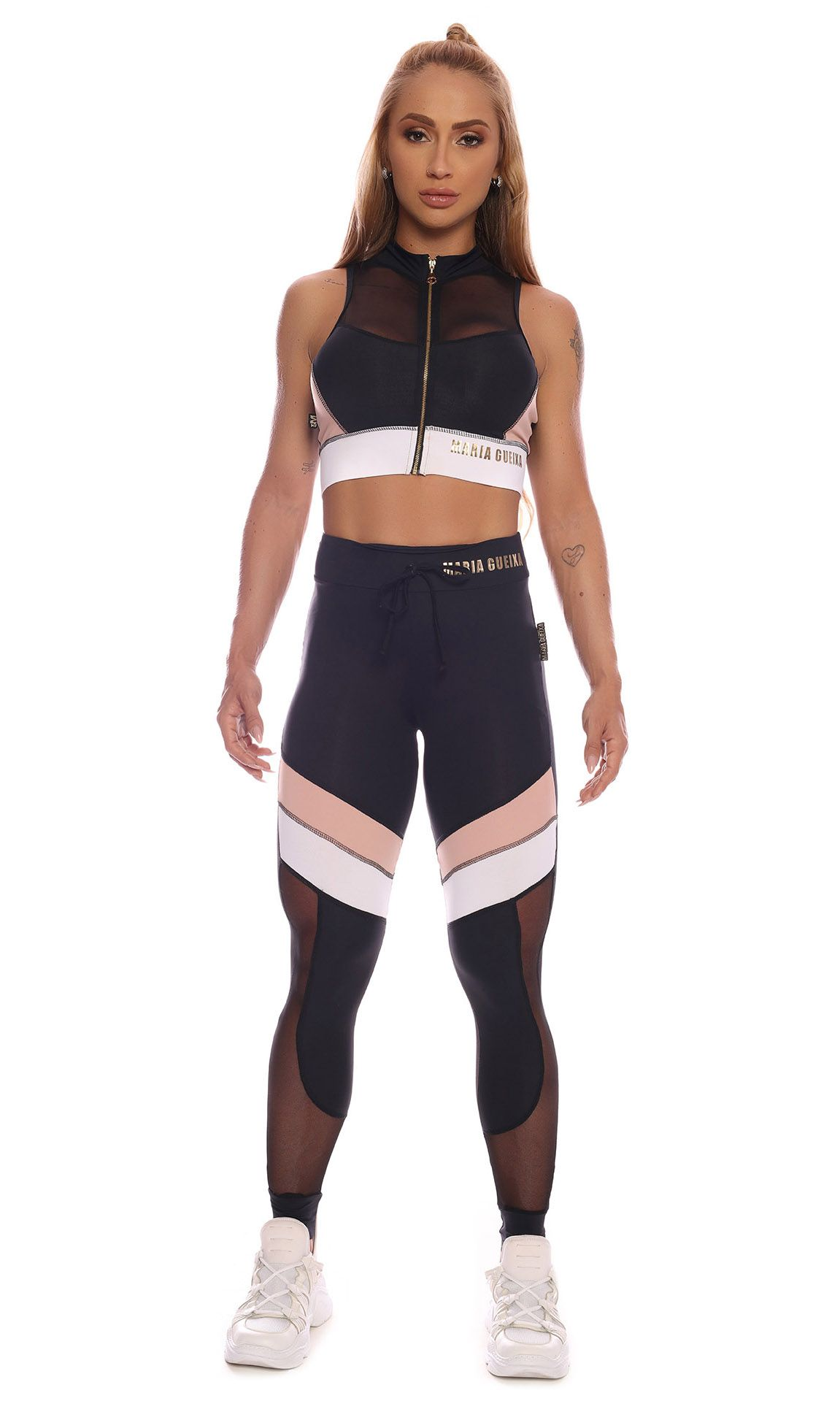 Calça Legging Sports Color Block Maria Gueixa Preto