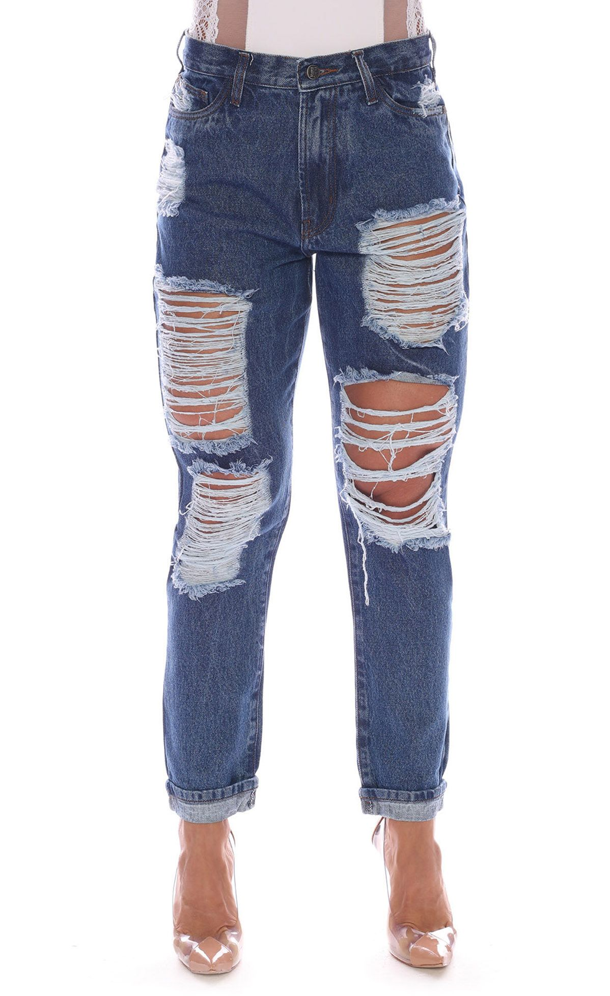 Calça Jeans Destroyed Azul Maria Gueixa Jeans