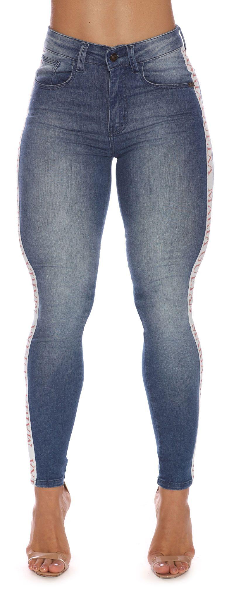 Calça Jeans Skinny Logo Rose Maria Gueixa Jeans