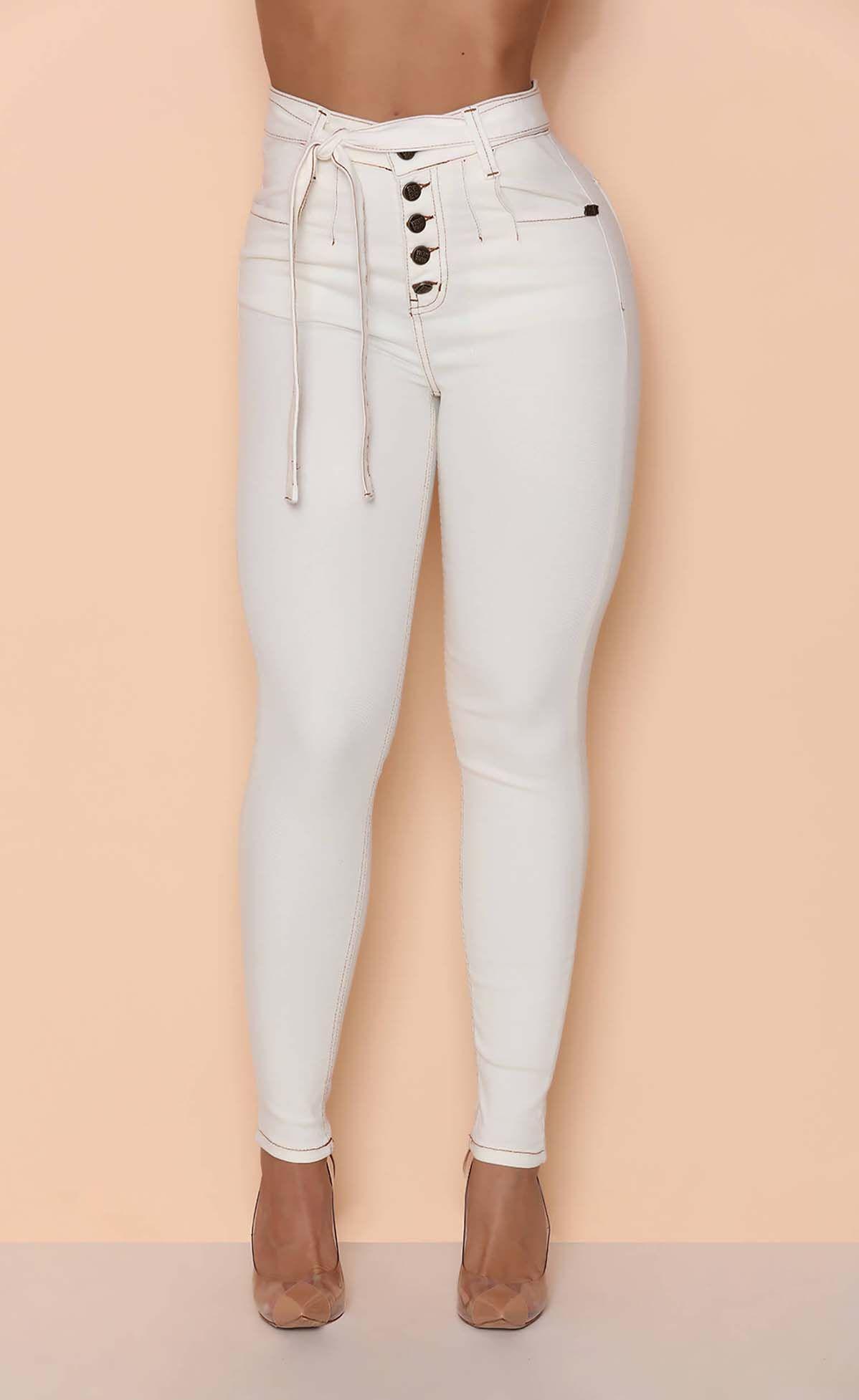 Calça Jeans Botoes All White Maria Gueixa Off White