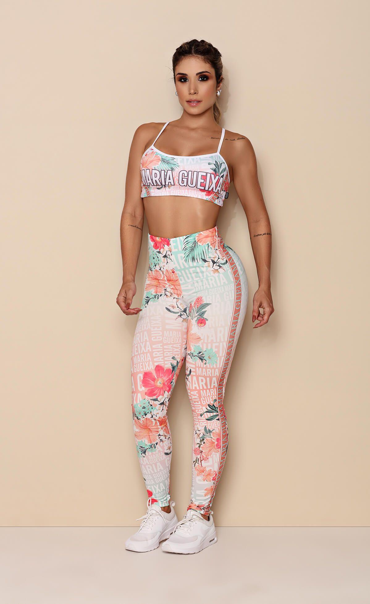 Conjunto Top + Legging Printed Candy Gloss Logomania Maria Guei Candy Gloss