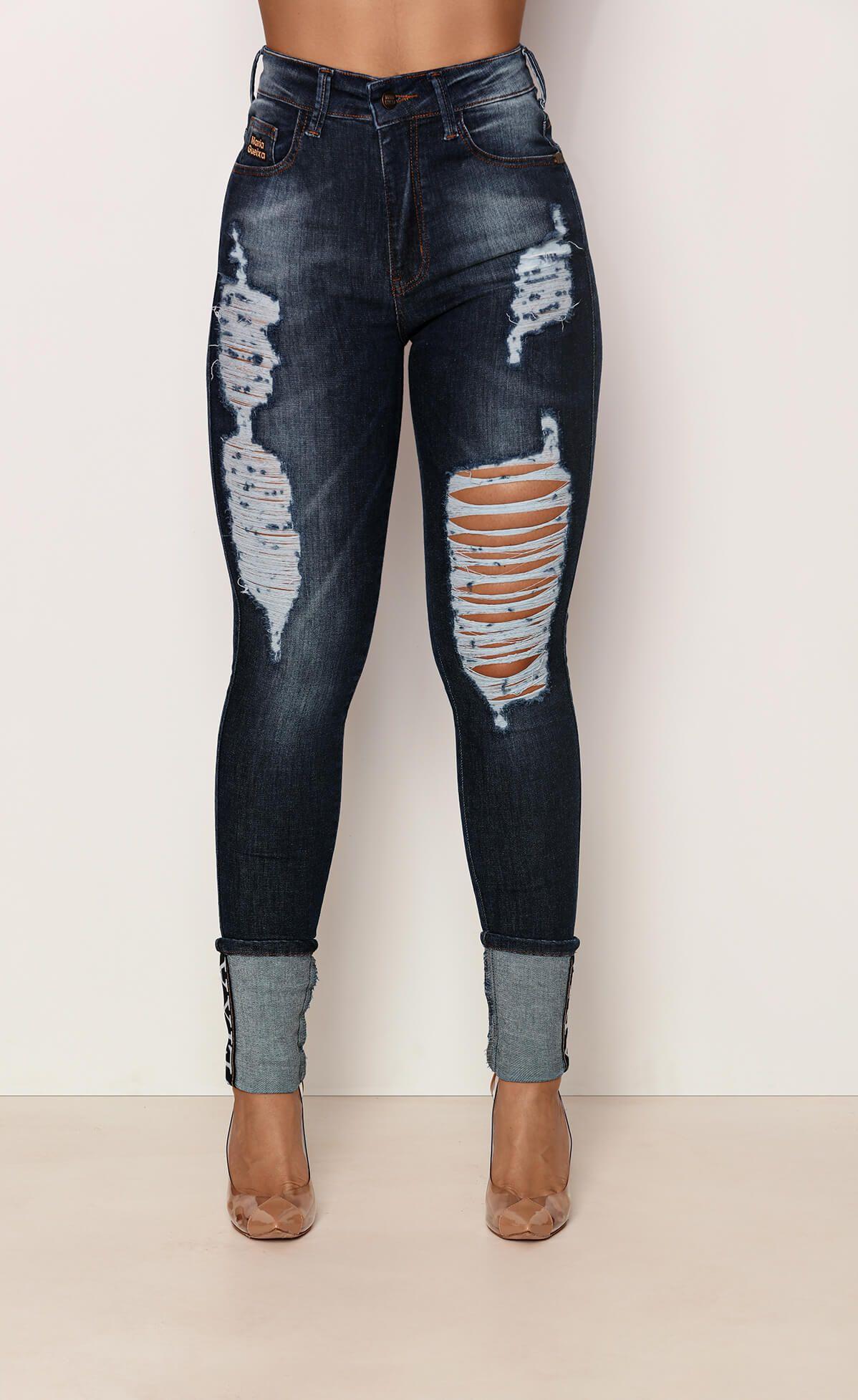 Calça Jeans Destroyed Barra Dobrada Maria Gueixa Jeans Escuro