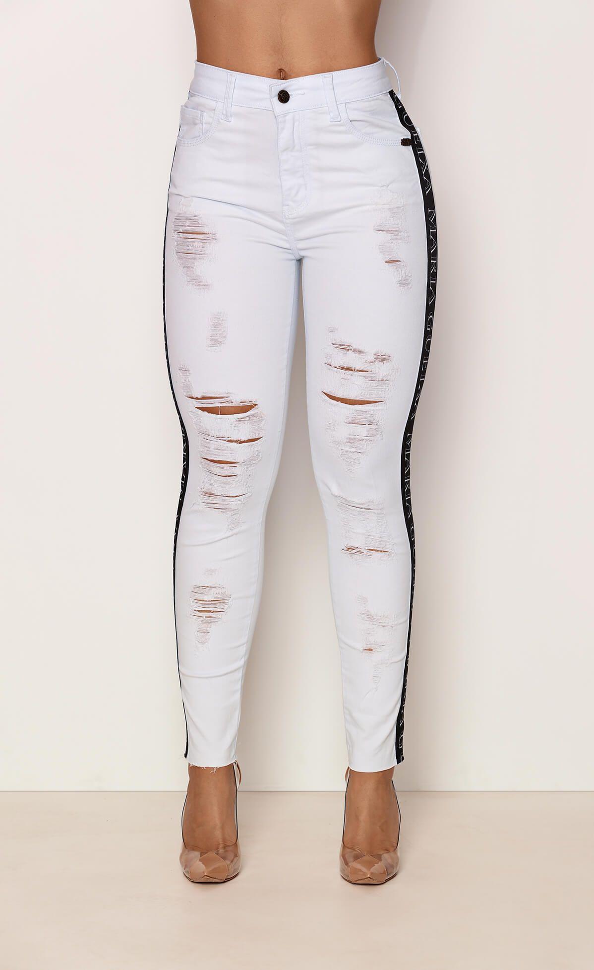 Calça Jeans Destroyed White Faixa Maria Gueixa Jeans White