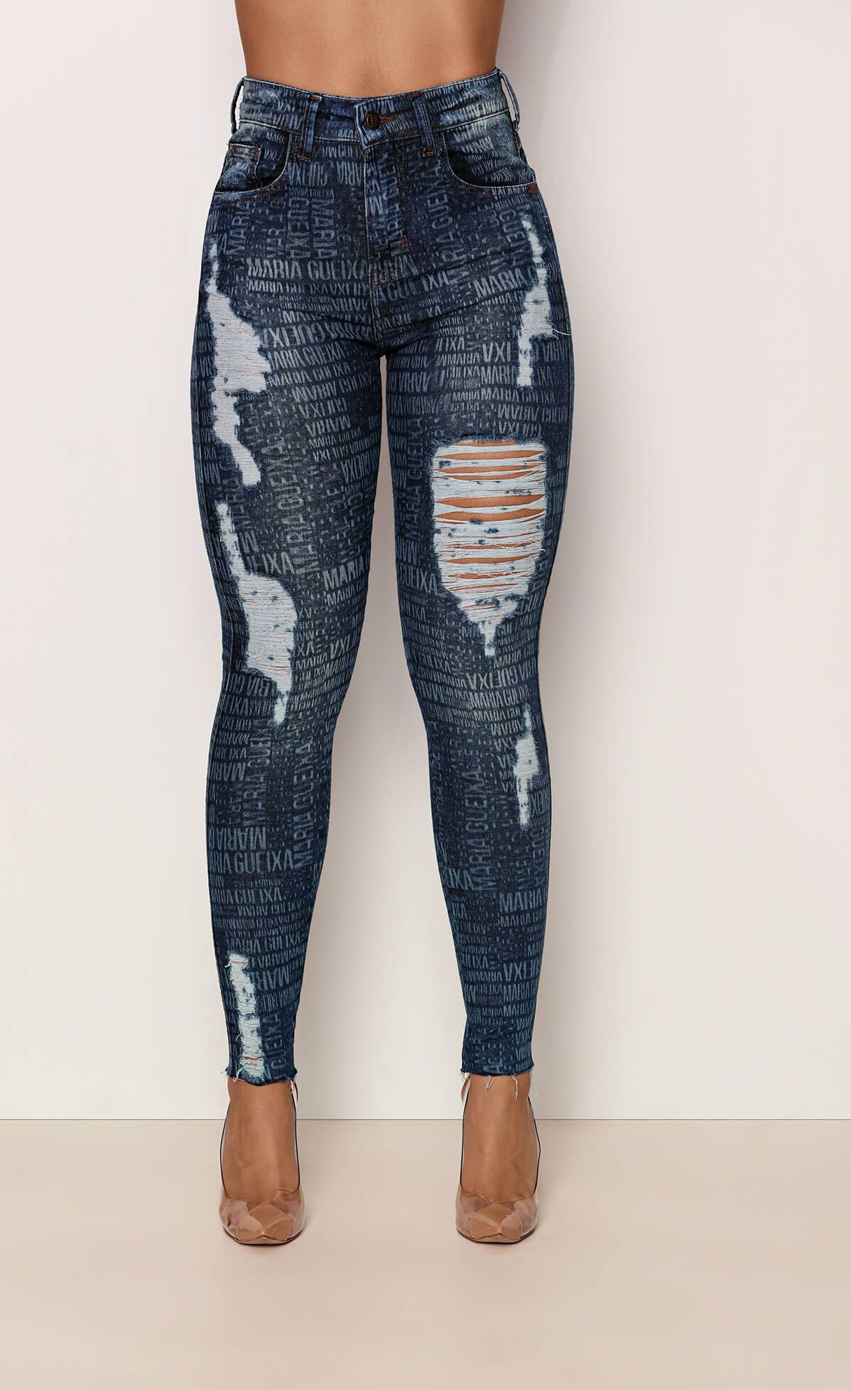 Calça Jeans Logomania Blue Maria Gueixa Jeans
