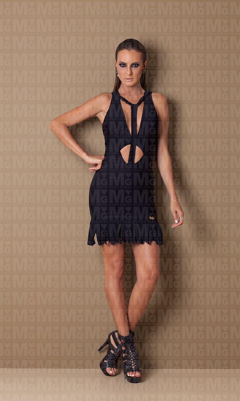 f092ca6ba Vestido Midi Bandagem Trança Decote Maria Gueixa