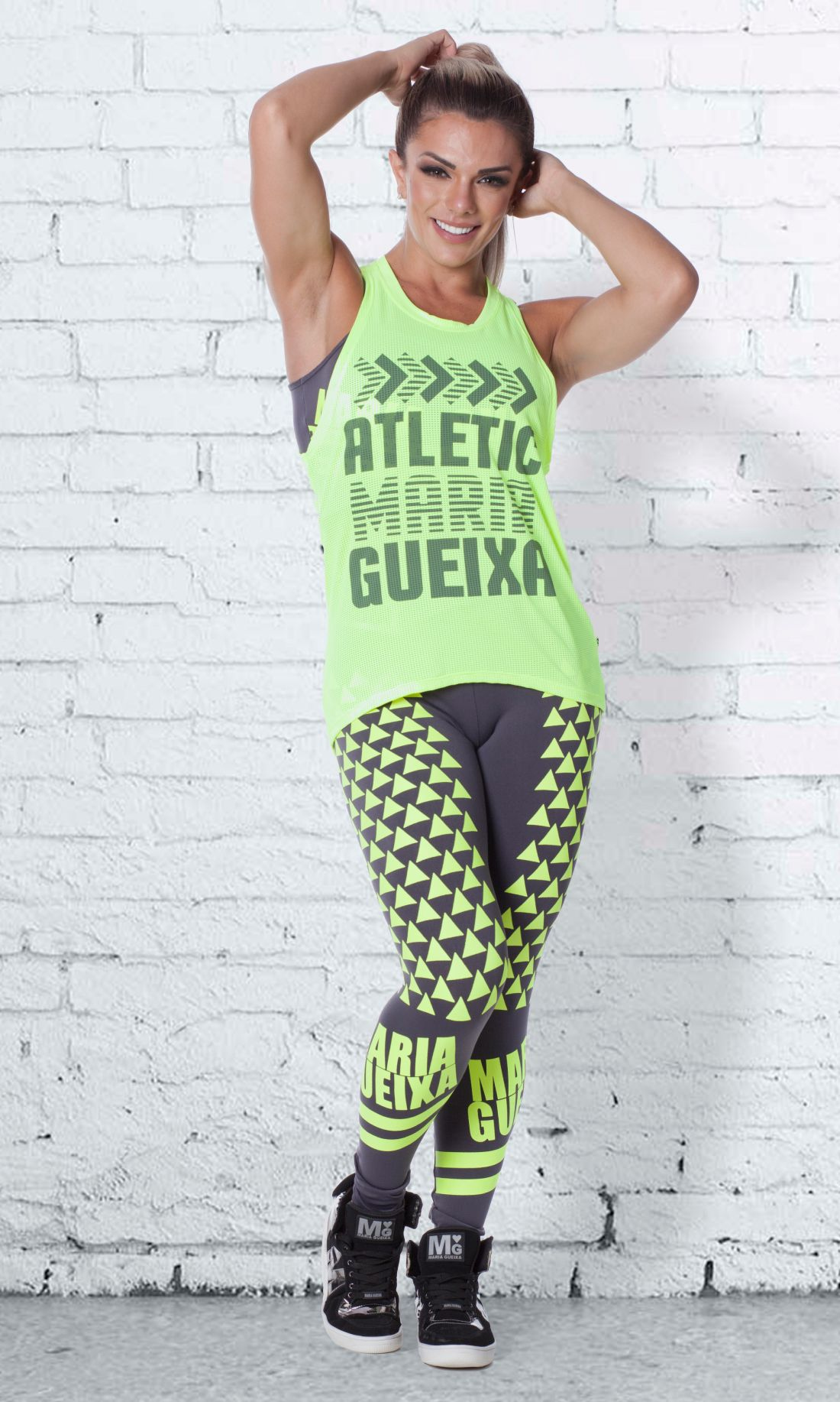 BLUSA DRY-FIT RUNNING MARIA GUEIXA AMARELO NEON