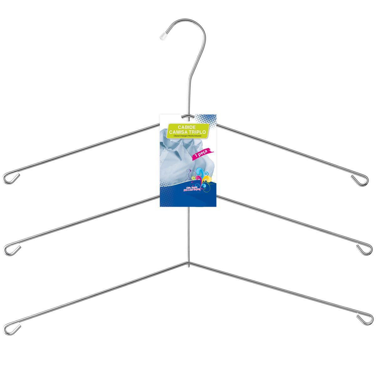 Cabide Cromado Triplo Para Camisas Polo Blusas Guarda Roupas