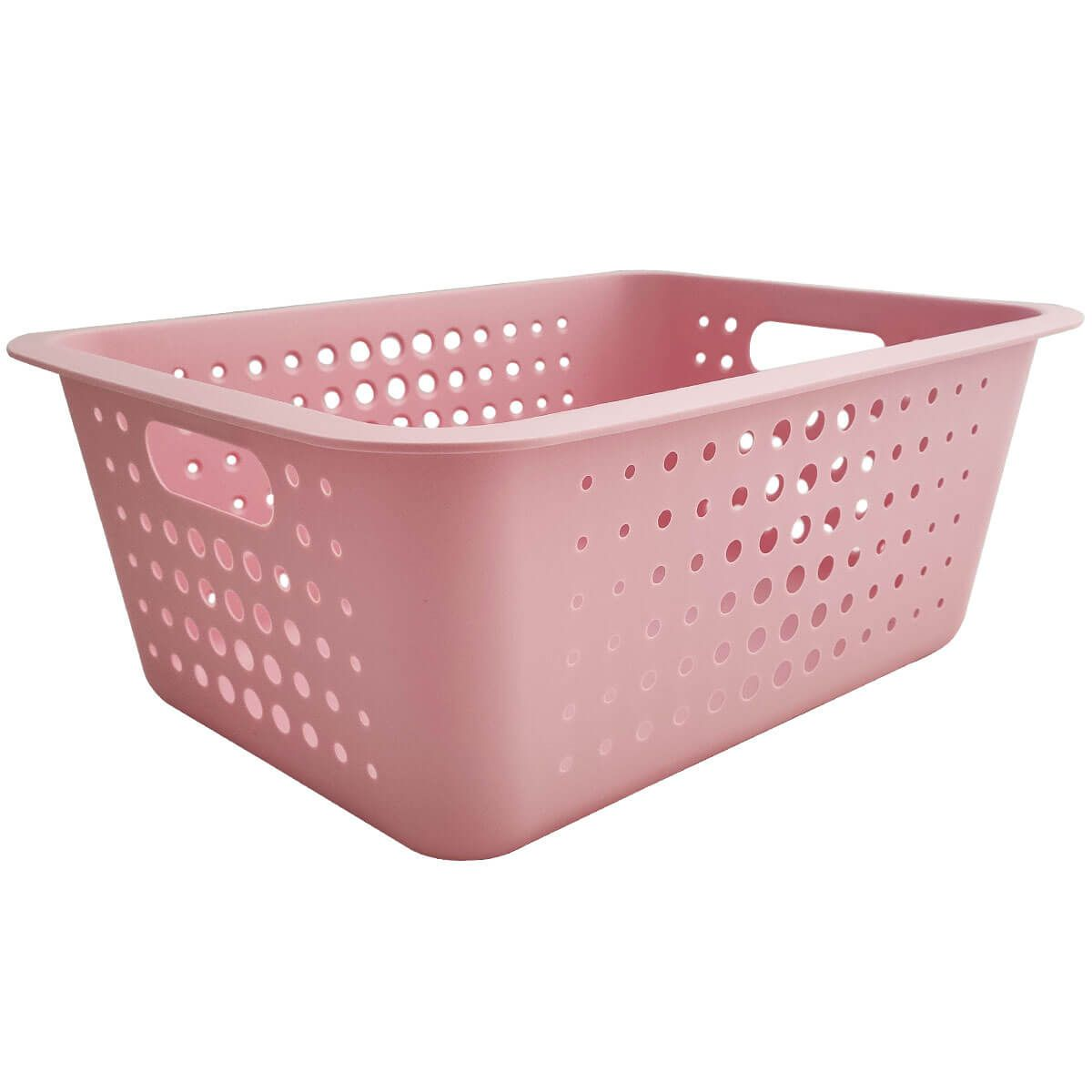 Caixa Organizadora Grande Organize Cesto Plástico 14,5 Litros Rosa Quartzo