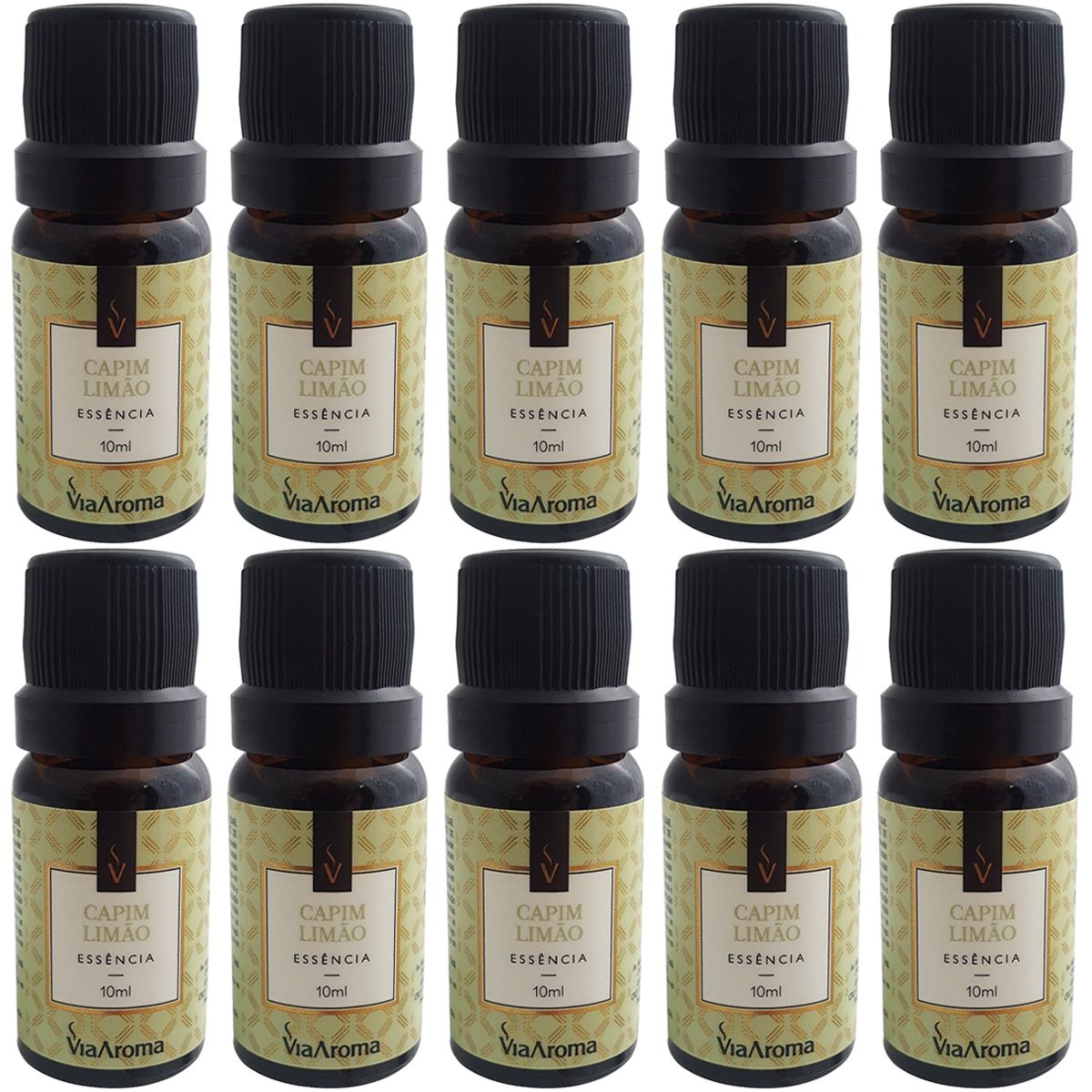 Kit 10 Essências De Aromatizador Via Aroma Aromaterapia 10ml Capim Limão